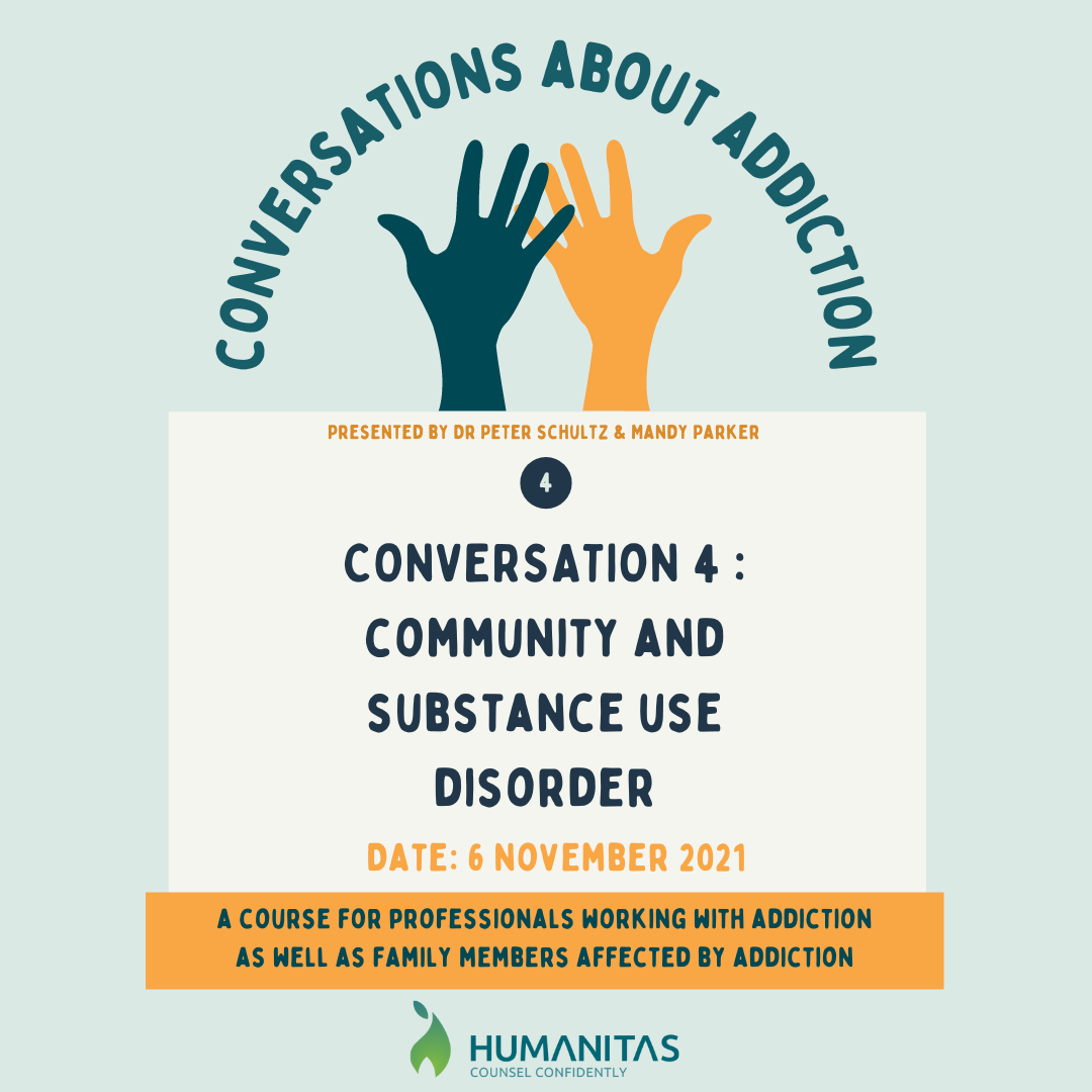 CONVERSATIONS ABOUT COMMUNITY AND SUBSTANCE USE DISORDER - Discussion 4 Substance abuse is a social issue. It involves not only the person using substances but also the family, community and society. This conversation delves into the role of the community in addressing substance use disorder.  It looks at the role of the counsellor in engaging community members and to empower them to take action in order to implement change. A step-by-step process is discussed to assist the counsellor with the above.